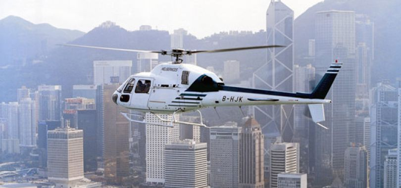 Fly over Hong Kong i helikopter